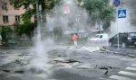 В Столярном переулке прорвало трубу с горячей водой